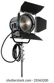 Cinematograph spotlight equipment detail on white background