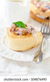 Cinnabon with cottage cheese, raisins and cinnamon in the glaze