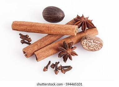 Cinnamon, anise, nutmeg
