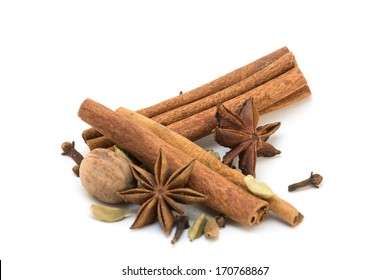Cinnamon, anise, nutmeg, cloves and cardamom isolated