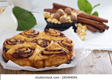 Cinnamon buns with chocolate and cream cheese glaze