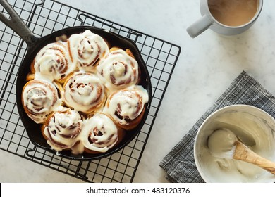 Cinnamon Buns or Rolls in Cast Iron Skillet with Cream Cheese Icing