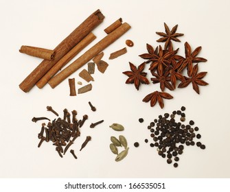 Cinnamon, clove, anise and other condiments for punch