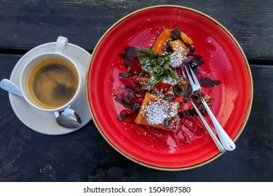 cinnamon desert and double espresso top view