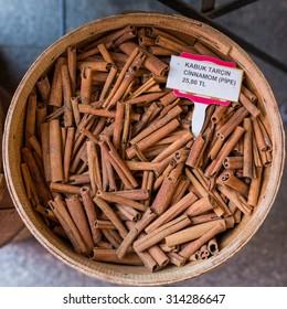 Cinnamon at market in Istanbul, Turkey
