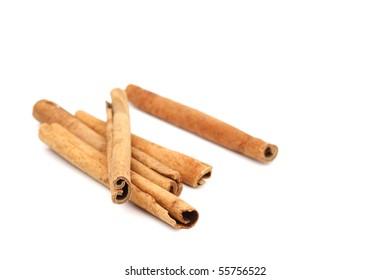 cinnamon pile isolated on white