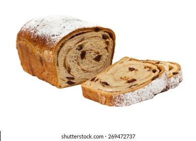 Cinnamon Raisin Bread on a white background. Selective focus.