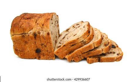 Cinnamon Raisin Bread on a white background
