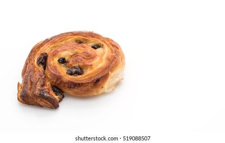 cinnamon raisin roll on white background