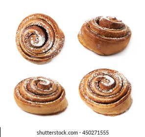 Cinnamon roll bun coated with the sugar powder, composition isolated over the white background, set of four different foreshortenings