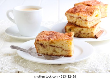Cinnamon sour cream coffee cake on plate