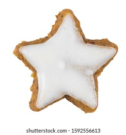 Cinnamon Star biscuit isolated on white background.