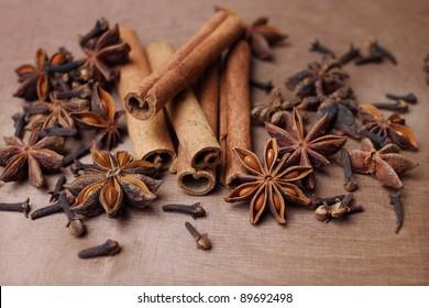 cinnamon, staranise and cloves