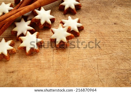 Cinnamon Stars Biscuits Over Wooden Background Stock Photo Edit Now