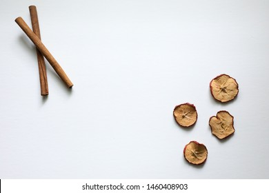 Cinnamon Stick Flat Lay Floral Green Leaves Rose Petals Over Head Looking Down Space for Logo Blog Post Rustic Art Flowers Copy Space