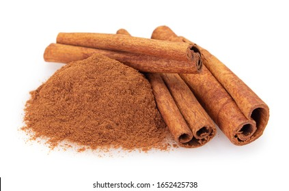 cinnamon stick with powder isolated on white background closeup