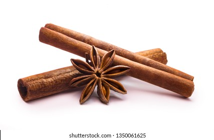 cinnamon stick and star anise on white background