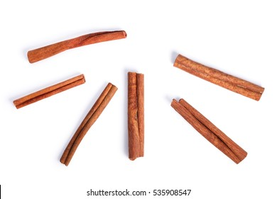 Cinnamon sticks from above. Clipping paths, shadows separated