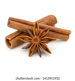 Cinnamon sticks and anise star isolated on white background close up