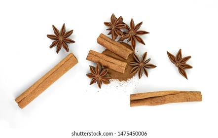 Cinnamon sticks and anise star isolated on white background close up. Spice Cinnamon sticks and anise star.