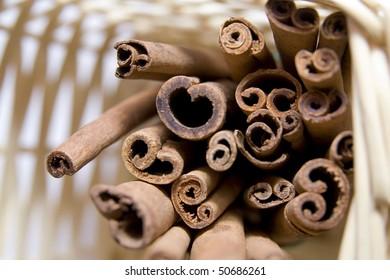 cinnamon sticks in basket