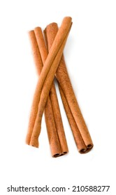 Cinnamon sticks bunch on White background.