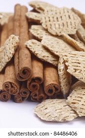 Cinnamon sticks  and cereal