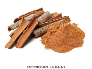 Cinnamon Sticks and Ground Cinnamon on a white background