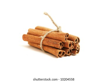 Cinnamon sticks, isolated on white