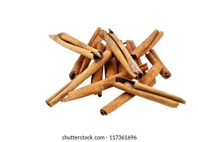 Cinnamon sticks isolated on white with clipping path