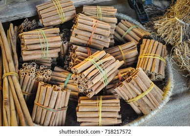 Cinnamon sticks on traditional display market, Reunion Island, France