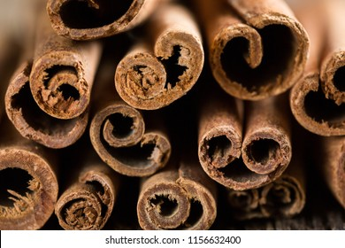cinnamon sticks on a wooden background close-up