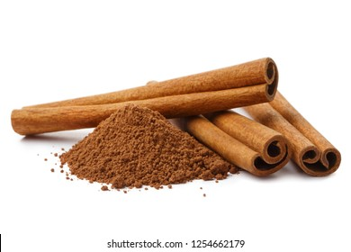 Cinnamon sticks and powder, isolated on white background