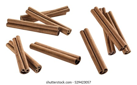 Cinnamon sticks set 2 isolated on white background for flavor package design element
