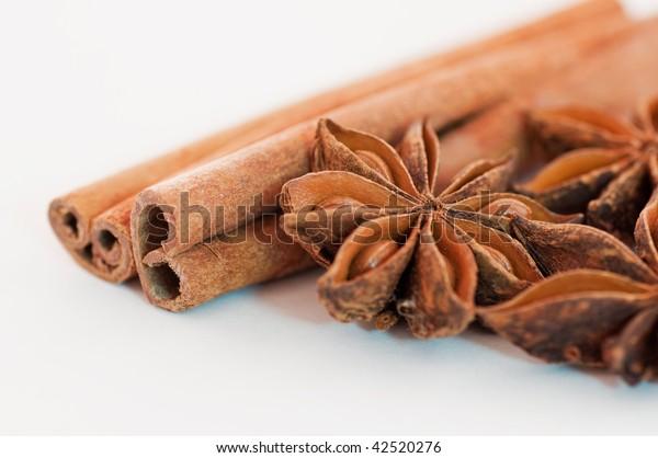 Cinnamon sticks and star anise macro