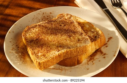 cinnamon sugar toast in golden light in full focus