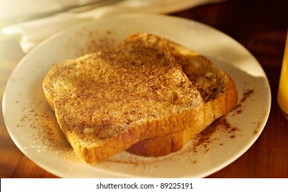cinnamon sugar toast with golden sunshine with selective focus