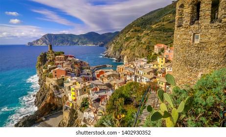 Cinque Terre fishing village of Vernazza in La Spezia, Italy