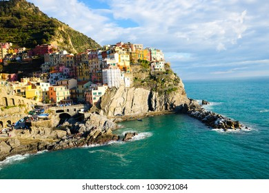 Cinque Terre Italy, beautiful colorful building on the rock over the sea.