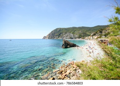 Cinque Terre: View to Monterosso al Mare beach from the Vernazza hiking trail in early summer, Liguria Italy Europe