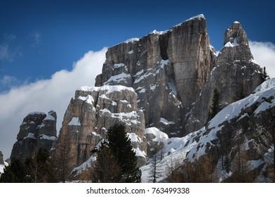 Cinque Torri group in the Dolomites, Cortina d'Ampezzo. Veneto, Italy