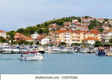 CIOVO, CROATIA - AUG 22, 2014: Coastline of Ciovo, small Croatian Island. Ciovo is an island in the Adriatic Sea with area of 28.8 km2