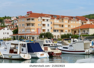 CIOVO ISLAND, CROATIA - AUGUST 22, 2014: Four stars Hotel Trogir Palace, opened in 2008, located 200 m from Trogir, which is a UNESCO listed town