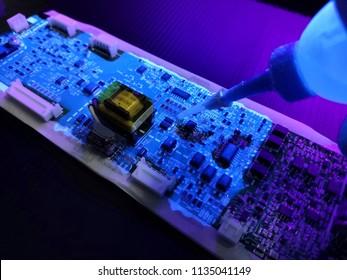 Cip board under uv light