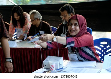 Cipayung, East Jakarta, Jakarta - Indonesia, April 17,2019. Pemilihan Umum Indonesia or Indonesia election day, held today through Indonesia, All citizens voters come to TPS or voting place.