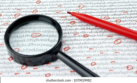 Cipher encryption code or data encrypt with magnifying glass and red pen