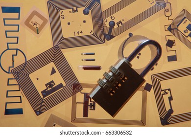 Cipher lock on RFID tags (Radio Frequency Identification tags), orange background