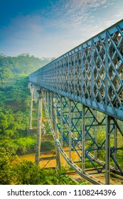 Cirahong Bridge, A Double Deck Structure of Metal Railway Bridge and Car Bridge Underneath Made by Dutch Colonial, Manonjaya Tasikmalaya, West Java Indonesia, Asia