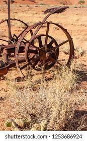 Circa 1860 pull-type sickle bar mower, used by Mormon settlers Grafton, Utah