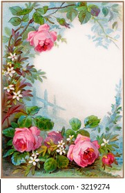 circa 1890 vintage rose border, background - illustration